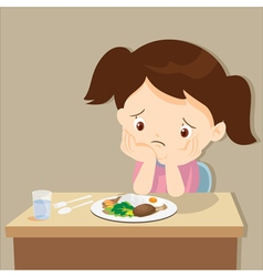 Girl bored with food vector