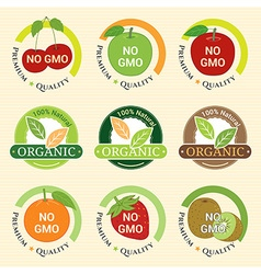 GMO Free Non GMO and organic guarantee tag label vector