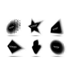 Halftone circle dots perspective logo emblem set vector