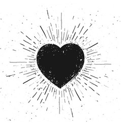 handdrawn heart symbol icon on grunge background vector image