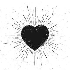 handdrawn heart symbol icon on grunge background vector image