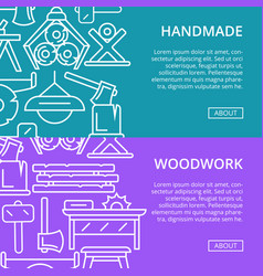 Handmade woodwork posters in linear style vector
