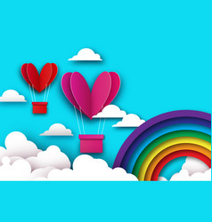 heart shape pink hot air balloon flying love in vector image