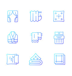 home textile products gradient linear icons set vector image