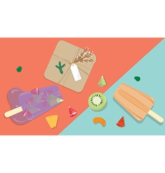 homemade fruit popsicles with gift box vector image