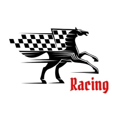 Horse race icon with racing checkered flag vector image