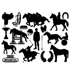Horse riding equestrian sport equipment isolated vector