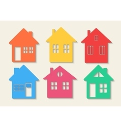 Houses icons set Real estate Colourful home icon vector image vector image