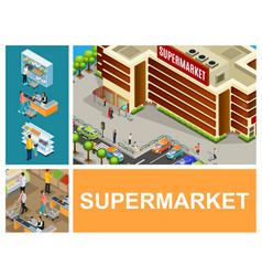 Isometric shopping center composition vector