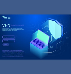 isometric showing the vpn vector image
