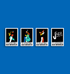 Jazz band man group with musical instrument set vector