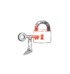 lock opening security concept sketch hand drawn vector image