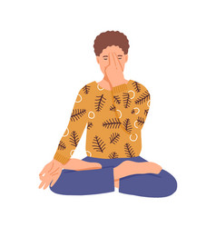 man doing yoga flat young boy vector image