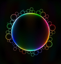 Many colorful bubbles unusual dark abstract vector