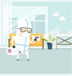 Medical worker cleaning in house vector