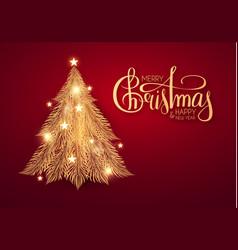 merry christmas shining gold christmas tree vector image
