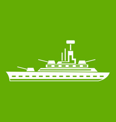 Military warship icon green vector