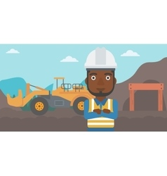 Miner with mining equipment on background vector
