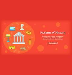 Museum banner horizontal cartoon style vector