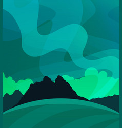 nature wallpaper with northern lights at night vector image