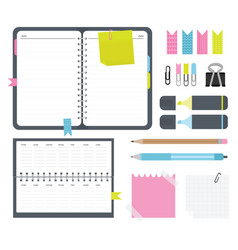 notebook with stickers calendar paper clips vector image