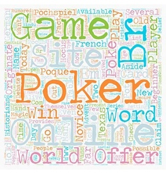 Online poker site text background wordcloud vector