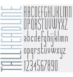 Outer echo retro style light condensed tall font vector