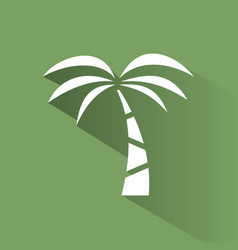 Palm tree icon on a green background with shade vector
