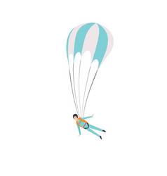 Paratrooper flying with a parachute extreme vector