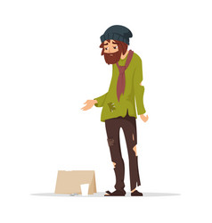 poor man in torn clothes begging money vector image