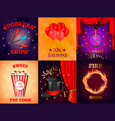realistic circus cards set vector image
