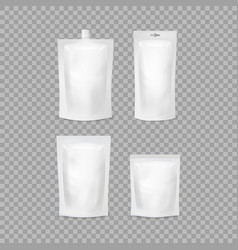 realistic detailed 3d various white blank doypack vector image