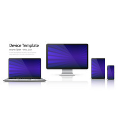 realistic devices computer laptop tablet phone vector image
