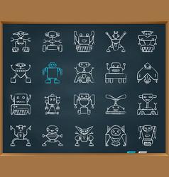 Robot chalk draw grunge line icons set vector