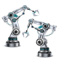 robotic arm set vector image