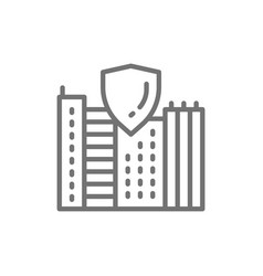 Safe city town with shield secure line icon vector