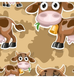 Seamless background with cute baby cow vector