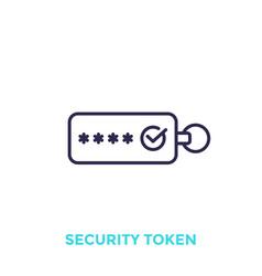 Security token line icon vector