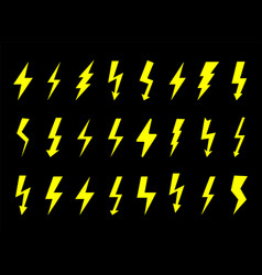 set electrical icons sign lightning danger vector image