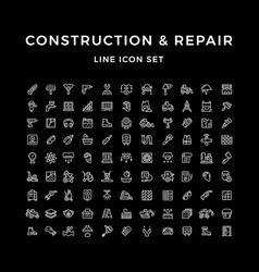 Set line icons of construction and repair vector