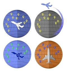 Set of Airplane Icons Travelling by Plane vector