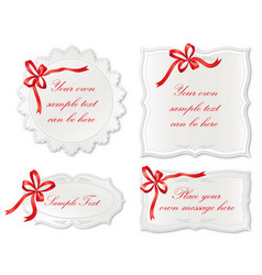Set of cute frame with bow ribbon holiday card vector