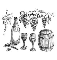 Set of wine bottle and barrel grapes vector