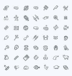 simple set of meat related line icons vector image