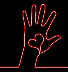 Single continuous line hand with heart red neon vector