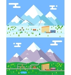 Spring summer winter seasons mountain village vector image