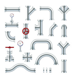 Steel pipes industrial set different plumbing vector