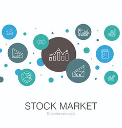 Stock market trendy circle template with simple vector