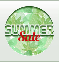 summer 3d banner with green leaves banner made of vector image