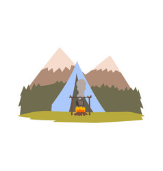 summer landscape with mountains forest and tent vector image